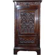 19th Century Antique French Gothic Style Oak Cabinet