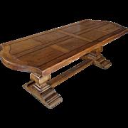 19th Century Antique French Oak Farm Trestle Table