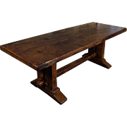 19th Century Antique French Oak Farm Trestle Table