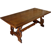 19th Century Antique Italian Walnut Dining Table