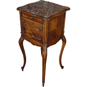 19th Century Antique French Louis XV Walnut Nightstand