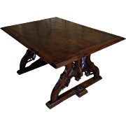 19th Century Antique French Gothic Style Walnut Library Table