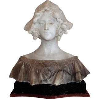 19th Century Antique French Napoleon III Period Marble Bust of Joan of Arc when listening the voices.