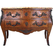 Antique French Louis XV Style Rosewood Bombe Commode