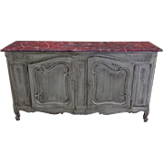 Antique French Louis XV Provencal Faux Marble Buffet