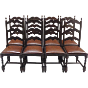 Set of 8 19th Century Antique Spanish Dining Chairs