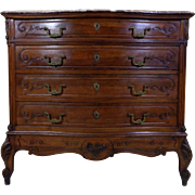 19th Century Antique French Louis XV Style Walnut Commode