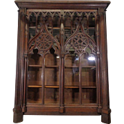 19th Century Antique French Gothic Style Oak Bookcase