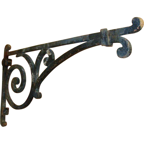 19th Century Antique Wrought Iron Lantern Or Sign Holder