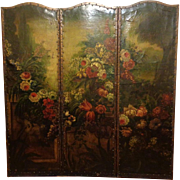 Antique Italian Painted Leather Three-Panel Folding Screen