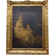 19th Century Antique Victorian Oil On Wood Painting