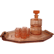 Art Deco Bohemian Liquor Decanter Set