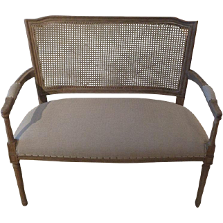 French Louis XVI Style Beech Caned Settee