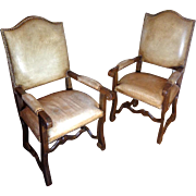 Pair of 19th Century Antique Spanish Oak Armchairs
