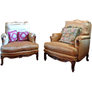 Pair of 19th Century French Louis XV Style Walnut Armchairs