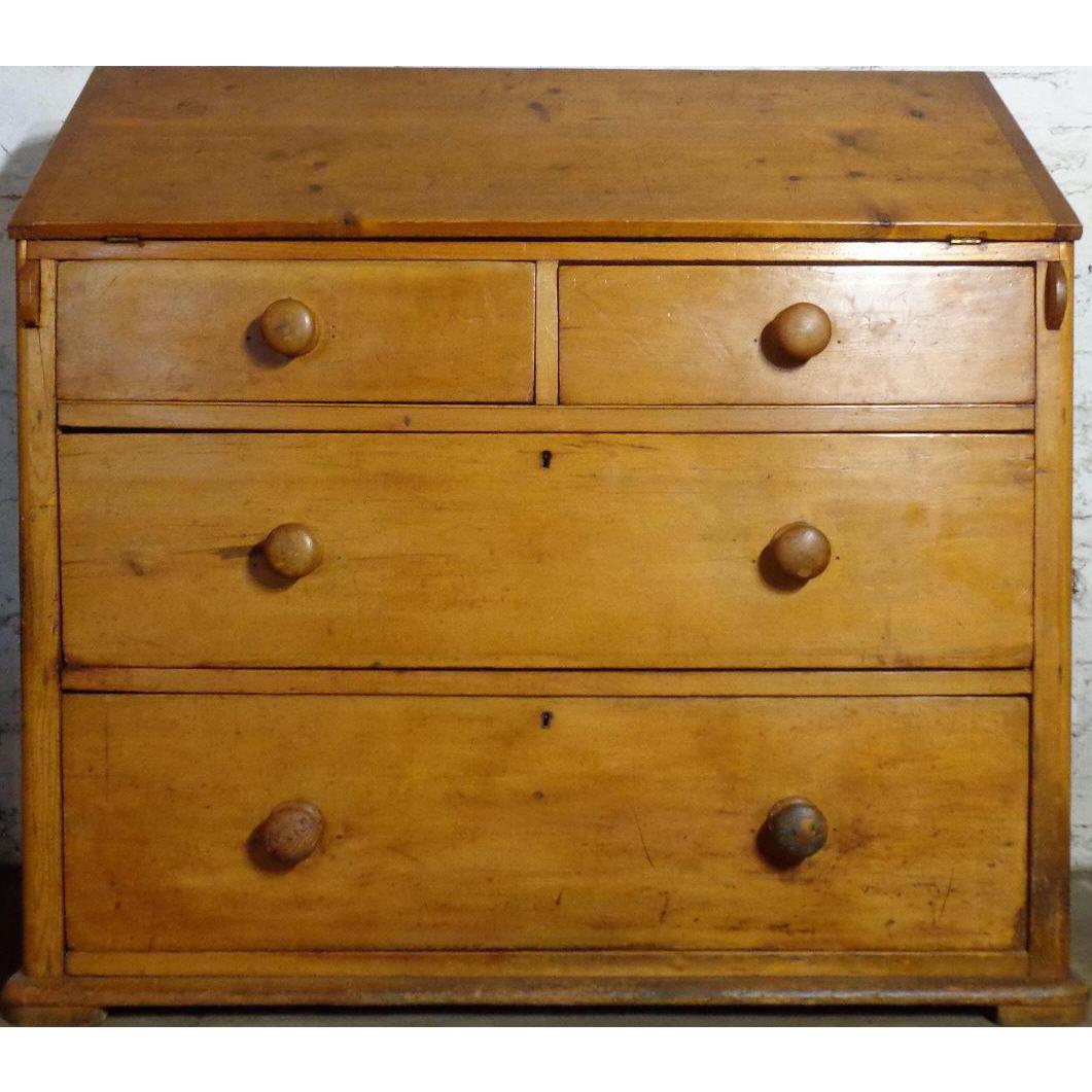 19th Century Antique Irish Pine Slant Front Desk