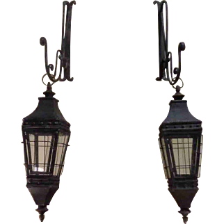 Pair of French Wrought Iron Lanterns