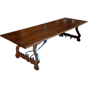 Long Antique Spanish Walnut Dining Table