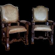 Pair of 19th Century Antique Spanish Oak Armchairs