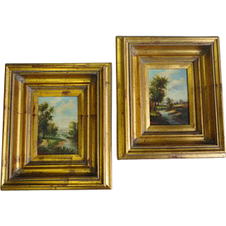 "Pair of Oil On Wood Paintings ""Landscape"""
