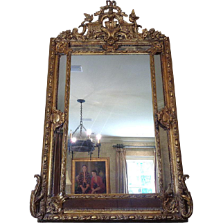 Large 19th Century Antique French Regency Style Mirror