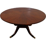 Antique English Regency Style Mahogany Round Dining Table