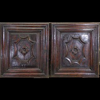 Pair of 19th Century Antique Renaissance Oak Panels