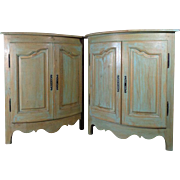 Pair of Antique Country French Louis XV Style Corner Cabinets