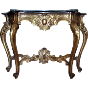 Antique Italian Baroque Giltwood Faux Marble Console