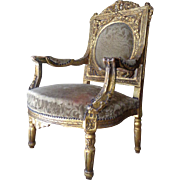Antique Italian Baroque Giltwood Armchair