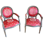 Pair of Antique French Louis XVI Style Armchairs