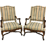 Pair of 19th Century Antique French Louis XV Armchairs