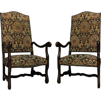 Pair of Antique French Os De Mouton Armchairs