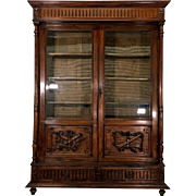 19th Century Antique French Louis XVI Style Walnut Bookcase