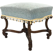 19th Century Antique French Louis XIV Style Walnut Bench