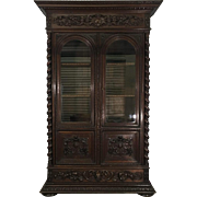 19th Century Antique French Renaissance Style Oak Bookcase