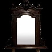 19th Century Antique French Napoleon III Period Walnut Vanity Mirror