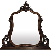 19th Century Antique French Louis XV Rococo Walnut Vanity Mirror