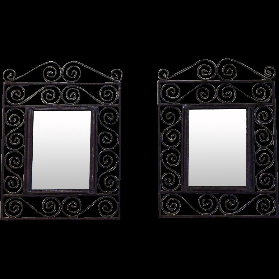 Pair of Spanish Wrought Iron Mirrors