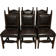 Set of 6 19th Century French Renaissance Style Walnut Chairs