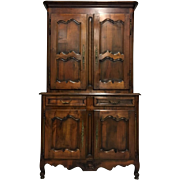 19th Century French Louis XV Walnut Buffet Deux Corps