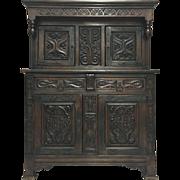 19th Century French Renaissance Style Oak Buffet Deux Corps Cabinet