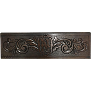 19th Century Decorative Oak Panel with Initial N