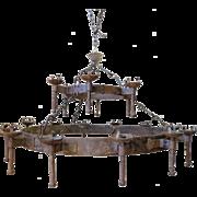 19th Century Wrought Iron Round 18-Light Chandelier