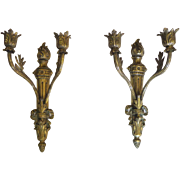 Pair of 19th Century French Louis XVI Style Bronze Sconces