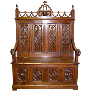 19th Century French Gothic Style Walnut Bench