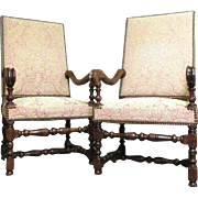 Pair of 19th Century French Renaissance Style Oak Armchairs