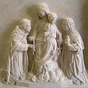 19th Century Antique Marble Our Lady of the Rosary