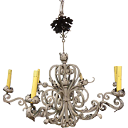 Antique French Louis XV Style 6-Light Wrought Iron Chandelier