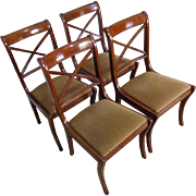 Set of 4 Antique English Regency Style Mahogany Dining Chairs